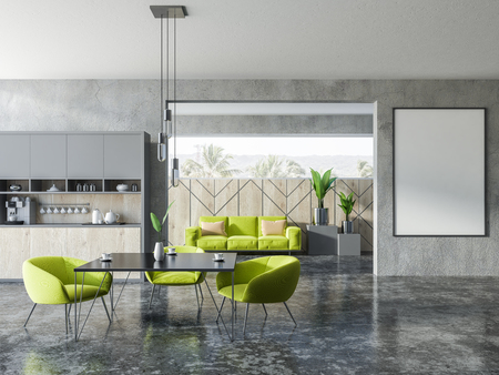 Interior of studio apartment with kitchen corner, a square table with green armchairs and sofa with cushions. Mock up vertical poster fram on the wall 3d rendering