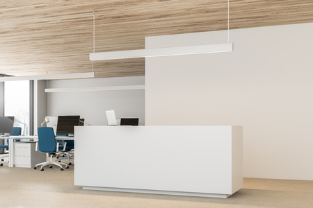 White walls open space office interior with wooden ceiling, rows of computer tables with monitors and blue chairs. Reception desk on the left 3d rendering copy space