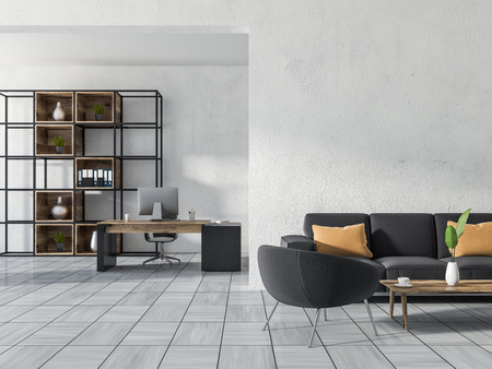 Luxury home office or manager office with white walls, white wooden tile floor, a computer table, a bookcase, a sofa with an armchair and a coffee table. 3d rendering copy space