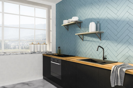 Gray and white kitchen corner with marble floor, big window with mountain view and black and wooden countertops. Shelves on the wall. 3d rendering