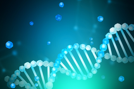 Blue white diagonal dna helix with parts of it scattered around over blue green blurred background. Biotech, biology, medicine and science concept. 3d rendering mock up toned image Stock Photo