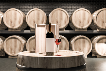 Close up of wine keg with wine bottle, wooden box and glass of red wine standing in a black brick cellar with rows of kegs in the background. 3d rendering