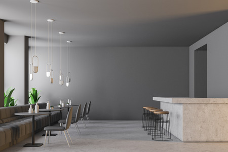 Light gray bar interior with a concrete floor, small round tables and grey sofas and chairs. Retro lamps. Marble bar with round stools. 3d rendering copy space