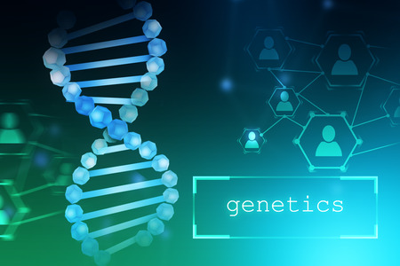 Blue dna helix and people network icons over blue green background. Text genetics written in a small box. Biotech, biology, medicine and science concept. 3d rendering mock up toned image