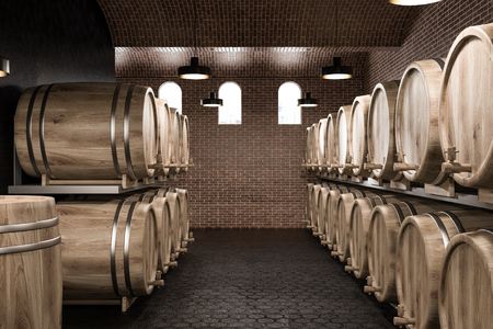 Wine cellar interior with brick and black walls, a black honeycomb pattern floor and rows of wooden kegs. 3d rendering copy space