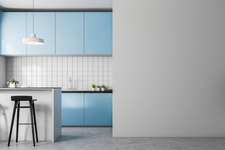 Front view of white tile kitchen with concrete floor, big window and blue countertops. 3d rendering copy space wall on the right