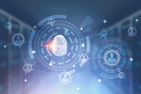Huella digital en hud e interfaz de red de personas inmersiva sobre fondo borroso de la sala de servidores. Concepto de alta tecnología e identificación. Representación 3D copia espacio imagen en tonos doble exposición Foto de archivo