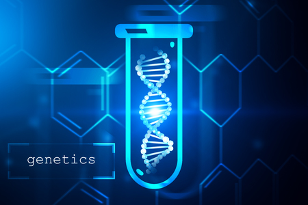 Blue dna helix in test tube over dark blue background with carbon atomic grid and text genetics in left corner. Biotech, biology, medicine and science concept. 3d rendering mock up toned image