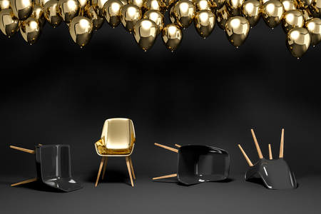Black chairs lying on black room floor. Gold chair standing. Many balloons near the ceiling. Concept of being unique and strong in life and business. 3d rendering copy space Stock fotó - 109243574