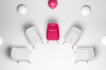 Circle of white chairs with a pink chair and balloon in the center. Top view. Concept of brainstorming and group therapy. 3d rendering 스톡 콘텐츠