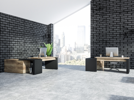 Manager office corner with black brick walls, big window with cityscape, concrete floor with wooden tables on it and potted plants. Attic. 3d rendering copy space