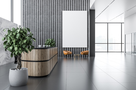 Office reception area with long white and gray reception table, gray and marble walls, panoramic windows and leather armchairs near neat round coffee tables. 3d rendering vertical mock up poster