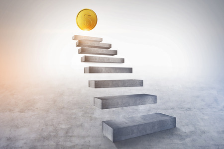 Concrete stairs going up with a shining dollar coin on the top. Concept of financial success and business goals. 3d rendering copy space
