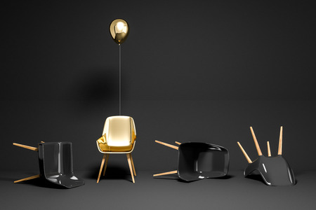 Black chairs lying on black room floor. Gold chair with a balloon standing. Concept of being unique and strong in life and business. 3d rendering copy space Stock fotó - 109246123