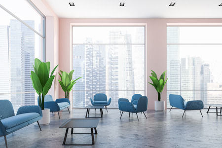 Interior of office lounge with concrete floor, blue couches, neat coffee table and large potted plants near panoramic cityscape windows. 3d rendering Banque d'images - 109246127