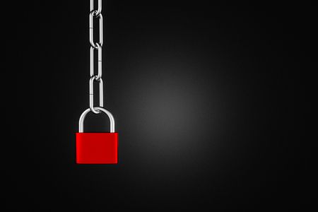 Red and steel padlock hanging on steel chain over black background. Concept of security and identity theft. 3d rendering copy space
