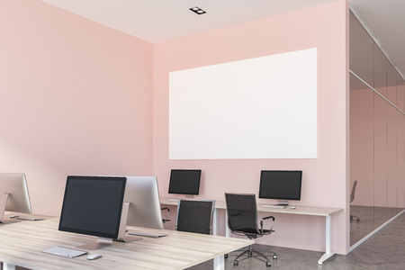 Interior of open plan office with pink walls, a concrete floor and rows of wooden computer desks. 3d rendering Horizontal mock up poster