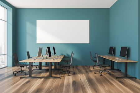 Interior of open plan office with green walls, a wooden floor, rows of wooden computer desks and panoramic windows. 3d rendering Horizontal mock up poster