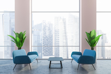 Interior of office lounge with concrete floor, blue sofas, neat coffee table and large potted plants near panoramic cityscape windows. 3d rendering