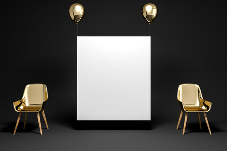 Two gold chairs standing in a black room with a vertical mock up poster hanging on gold balloons. Concept of idea and being creative. 3d rendering Stock fotó