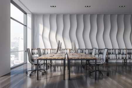 Open plan office interior with wave pattern wall, wooden floor, rows of computer tables with chairs and shelves with folders in them. Side view 3d rendering copy space Stock Photo