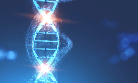 Glowing blue dna helix with binary numbers and hud swirling around it over dark blue background. Concept of science and hi tech in medicine. 3d rendering toned image double exposure mock up Stock Photo