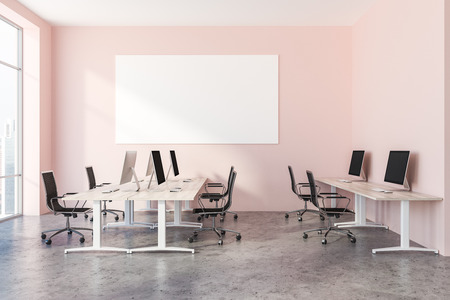 Interior of open plan office with pink walls, a concrete floor, rows of wooden computer desks and panoramic windows. 3d rendering Horizontal mock up poster Stock Photo