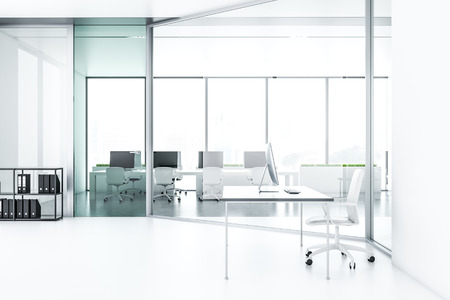 Company manager office interior with white walls and floor, gray table with computer on it and white chair. Shelves with folders and open plan office in the background. 3d rendering