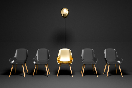 Row of black chairs with a gold chair and a balloon above it. Concept of choice and being unique. 3d rendering copy space