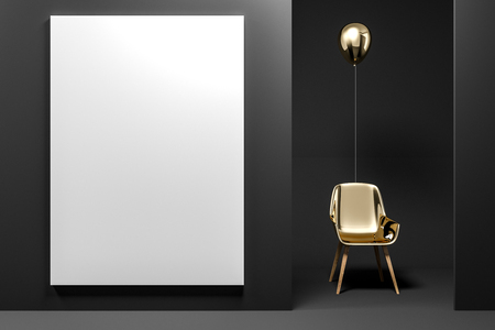 Gold chair with a balloon above it standing in a black room with mock up vertical poster. Concept of idea and being creative. 3d rendering