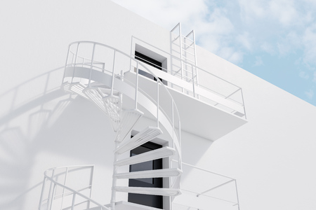 Wall of white house with white spiral fire escape stairs. Low angle view. Concept of advertising and having an escape route in business and life. 3d rendering