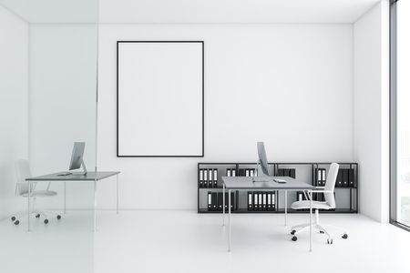 Company manager office interior with white walls and floor, gray tables with computers on them and white chairs. Shelves with folders and vertical mock up poster. 3d rendering