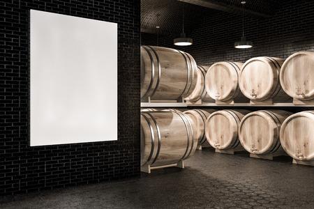 Wine cellar with black brick walls, hexagonal pattern floor, and rows of wooden kegs. Vertical mock up poster. 3d rendering