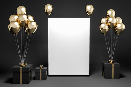 Black present boxes with gold ribbons and gold balloons standing in an empty black room. Vertical mock up poster. Concept of gifts and celebration. 3d rendering Stock Photo