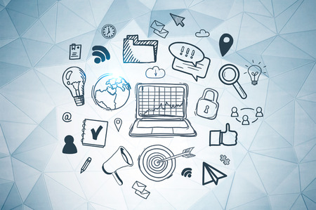 Internet icons drawn on white wall with geometric pattern. Concept of hi tech and internet use in business and daily life.