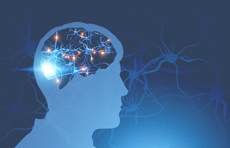 Silhouette of man head with glowing synapses in brain over blue background with synapses on it. Concept of medicine and science. 3d rendering toned image double exposure mock up Reklamní fotografie