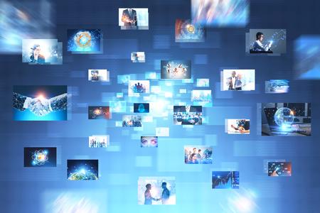 Molte immagini con temi aziendali su interfaccia blu astratta. Concetto di alta tecnologia e big data. Doppia esposizione dell'immagine tonica