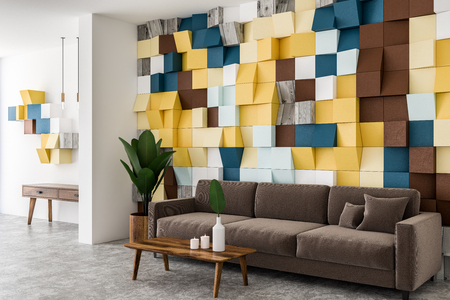 Colored tiles wall living room corner with concrete floor, brown sofa, and coffee table. 3d rendering