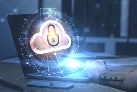 Vrouw handen typen op laptop in kantoor met cloud computer en netwerk hologram op de voorgrond. Getinte afbeelding dubbele belichting