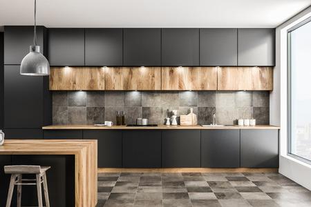 Vista frontale dell'interiore della cucina moderna con pareti grigie, pavimento piastrellato, piano di lavoro grigio e bar in legno con sgabelli. rendering 3d
