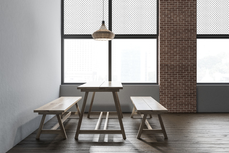 Interior of rustic restaurant with light gray and brick walls, wooden floor, massive wooden table and benches. 3d rendering
