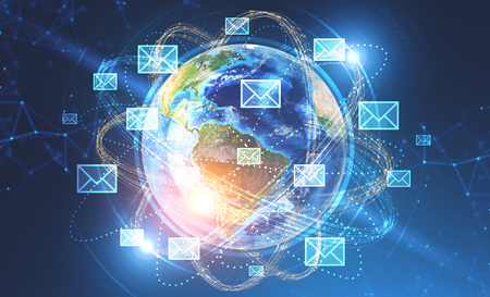 Glowing email icons around earth over dark blue background with network hologram Hi tech concept. 3d rendering toned image double exposure