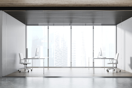 Manager office interior with panoramic windows, wooden floor, glass doors and two computer tables with white chairs. 3d rendering