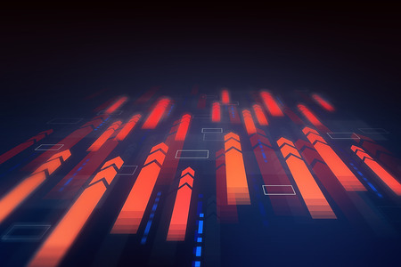 Futuristic immersive interface with red horizontal arrows flying forward over dark blue background. Concept of big data. 3d rendering Stock fotó