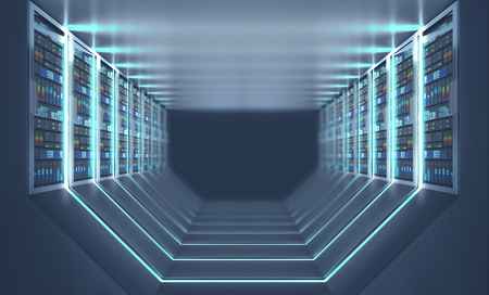 Interior of server room with gray floor and ceiling, rows of servers along the walls and lights in the floor and walls. 3d rendering