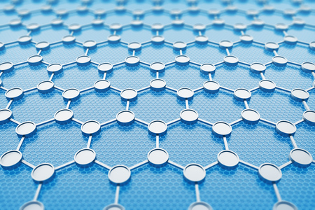 Crystal grid of graphene over blue background. Concept of nanotechnology, science and future. 3d rendering