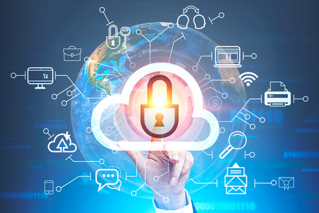 Woman hand touching secure cloud computing icon over blue background with lines of code and Earth. Toned image double exposure.