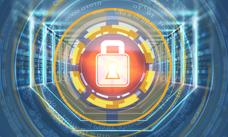 Cyber security icon in hud over interior of server room with gray floor and ceiling, rows of servers along the walls and lights in the floor and walls. 3d rendering toned image double exposure