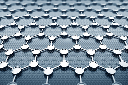 Crystal grid of graphene over gray background. Concept of nanotechnology, science and future. 3d rendering