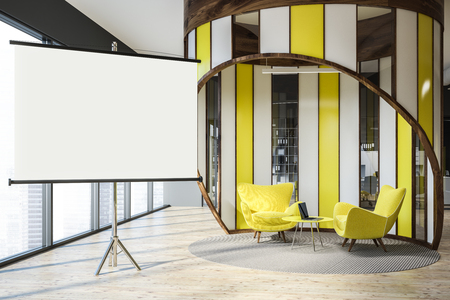 Modern office waiting area with gray walls, wooden floor, and yellow armchairs standing near round coffee table with laptop. Horizontal mock up poster 3d rendering
